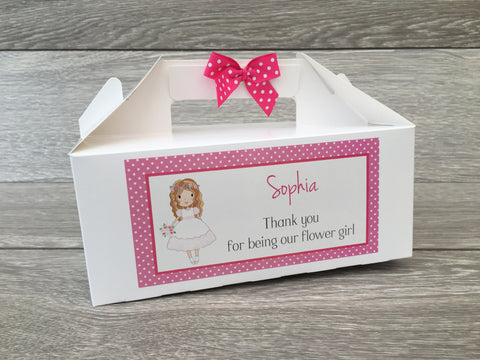 Personalised Handmade Wedding Thank You Favour Children's Kids Activity Gift Box - Flower Girl