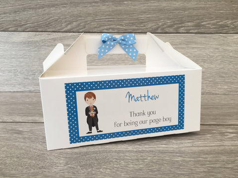 Personalised Handmade Wedding Thank You Favour Children's Kids Activity Gift Box - Page Boy