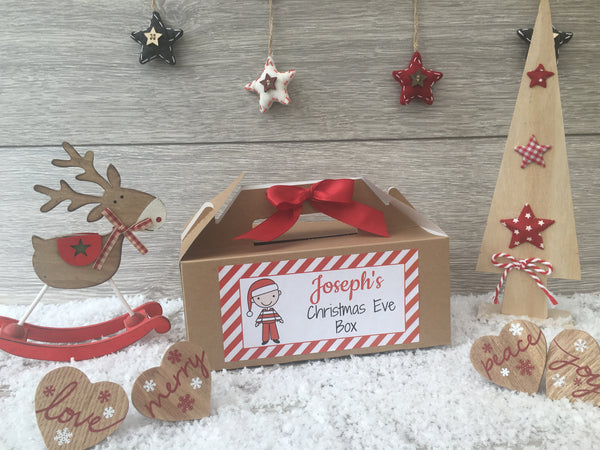 Personalised Handmade Christmas Eve Gift Box - Stick Family Male, Female, Girl, Boy, Baby Girl, Baby Boy, Dog, Cat