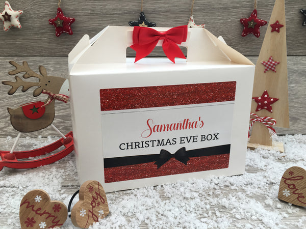 Personalised Handmade Christmas Eve Gift Box Red Glitter Effect