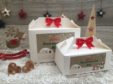 Personalised Handmade Christmas Eve Gift Box Penguins