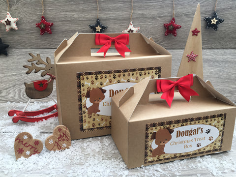 Personalised Handmade Christmas Eve Treat Gift Box Present Dog