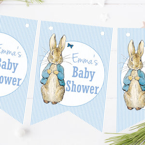 Personalised Baby Shower Bunting Peter Rabbit Blue