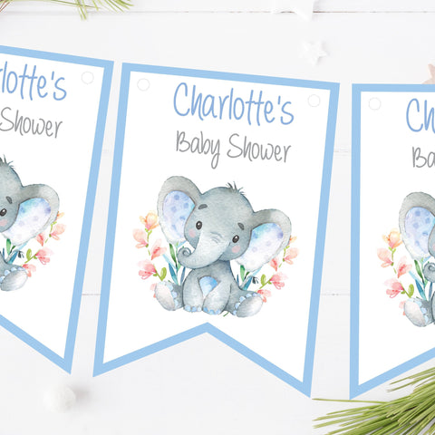 Personalised Baby Shower Bunting Watercolour Elephant Blue