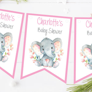 Personalised Baby Shower Bunting Watercolour Elephant Pink