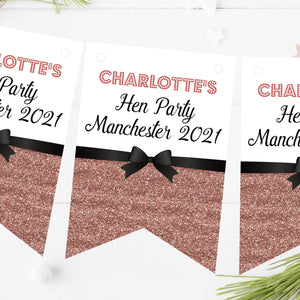 Personalised Hen Night Party Bunting Printed Glitter Effect Rose Gold Decorations