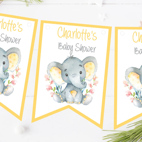 Personalised Baby Shower Bunting Watercolour Elephant Yellow