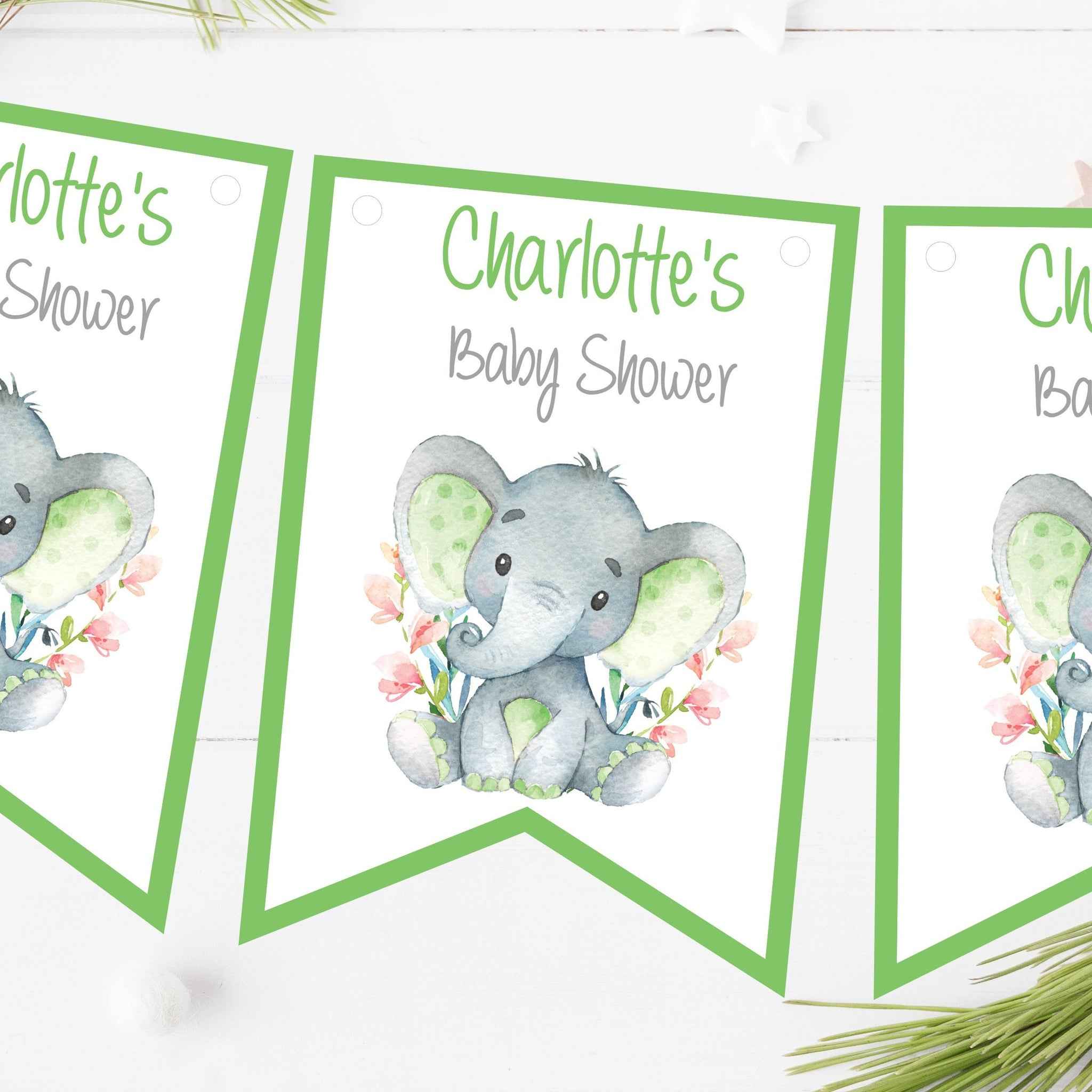 Personalised Baby Shower Bunting Watercolour Elephant Green Decorations
