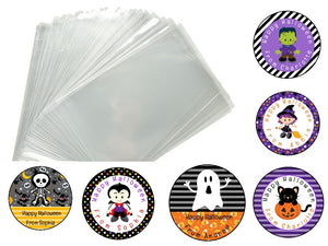 30 x DIY Personalised Glossy Halloween Birthday Party Favour Sweet Bag Stickers