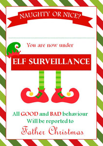 Personalised A4 Elf on the Shelf Elf Surveillance Certificate