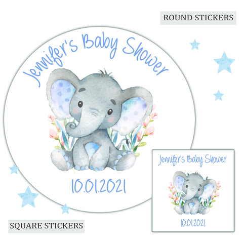 Personalised Baby Shower Party Favour Sweet Bag Stickers Watercolour Elephant Blue