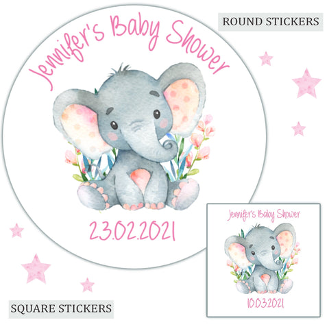 Personalised Baby Shower Stickers Watercolour Elephant Pink