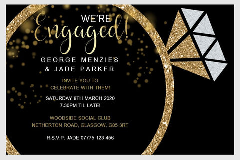 Personalised Engagement Party Invitations Gold Ring