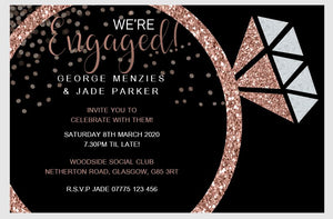 Personalised Engagement Party Invitations Rose Gold Ring