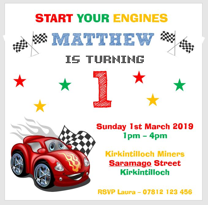 Personalised Birthday Party Invitations Red Racing Car