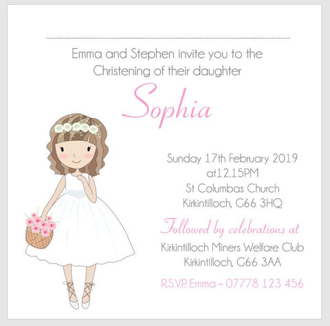 Personalised Girls Christening Invitations
