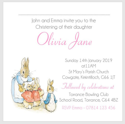 Personalised Girls Christening Baptism Naming Day Invitations