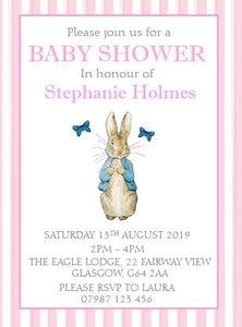 Personalised Baby Shower Invitations Peter Rabbit Pink