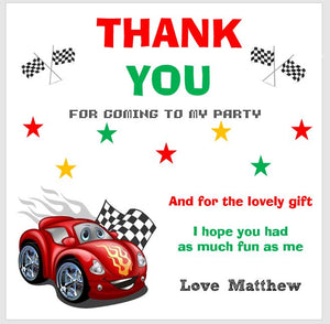 Personalised Birthday Thank You Note Cards Red Racing Car