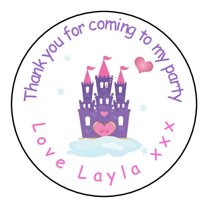 Personalised Round Glossy Birthday Party Favour Sweet Bag Stickers Princess Castle