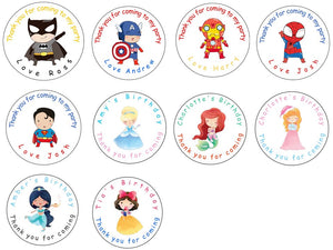 Personalised Glossy Birthday Party Favour Sweet Bag Stickers - Superhero & Princess