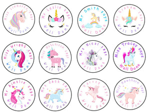 Personalised Glossy School Teacher Parents Reward Stickers - Unicorns