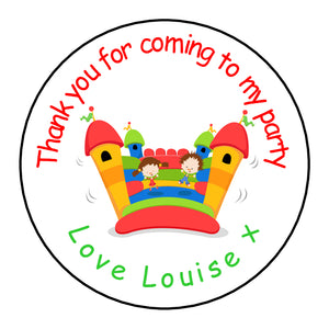 Personalised Round Glossy Birthday Party Favour Bag Stickers Bouncy Castle