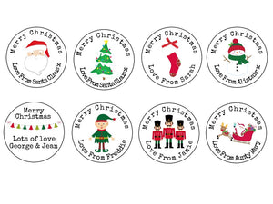Personalised Round Glossy Christmas Present Gift Label Tag Stickers Mix