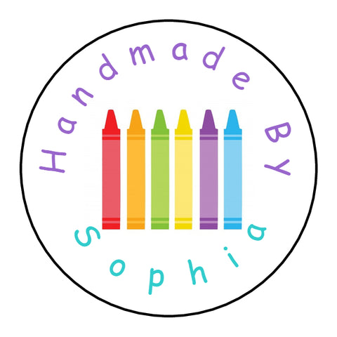 Personalised Round Glossy Handmade By Stickers Crayons
