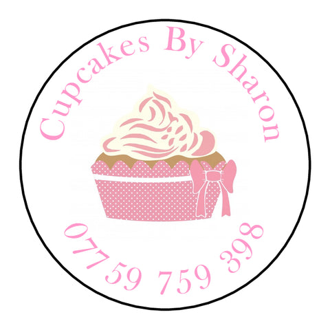 Personalised Round Glossy Handmade By Stickers Cupcake