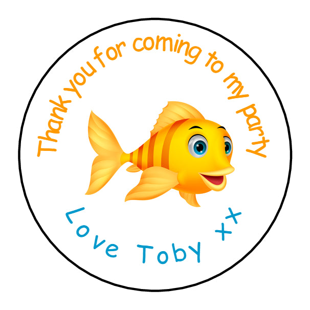 Personalised Glossy Birthday Party Favour Sweet Bag Stickers - Fish