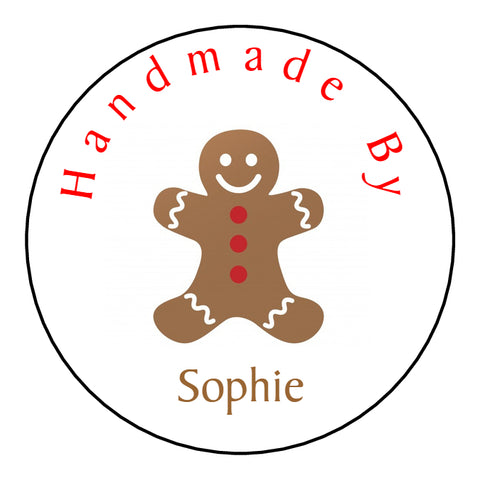 Personalised Round Glossy Christmas Stickers Gingerbread Man
