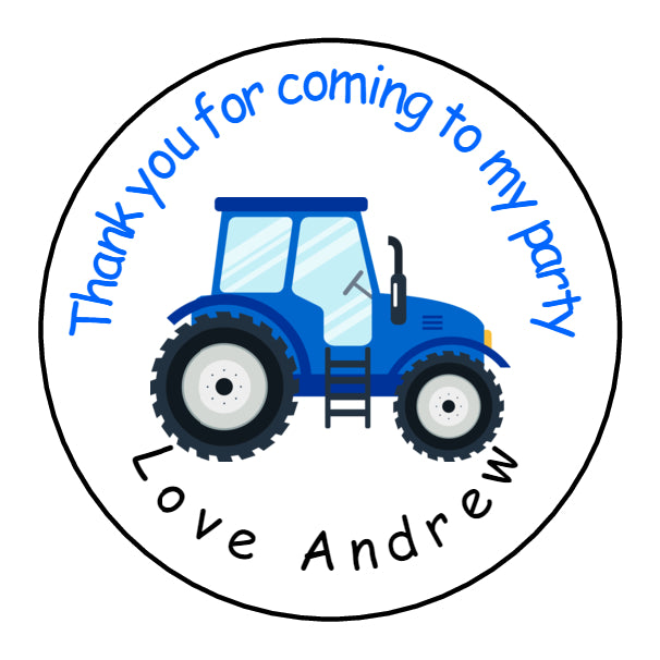 Personalised Glossy Birthday Party Favour Sweet Bag Stickers - Tractor