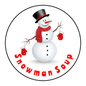 Glossy Round Christmas Labels Stickers Snowman Soup