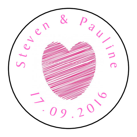 Personalised Glossy Wedding Favour Seal Stickers - Heart