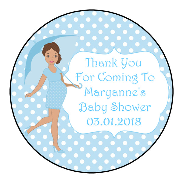 Personalised Round Glossy Baby Shower Party Favour Sweet Bag Stickers Pregnant Lady 3 Colour Options