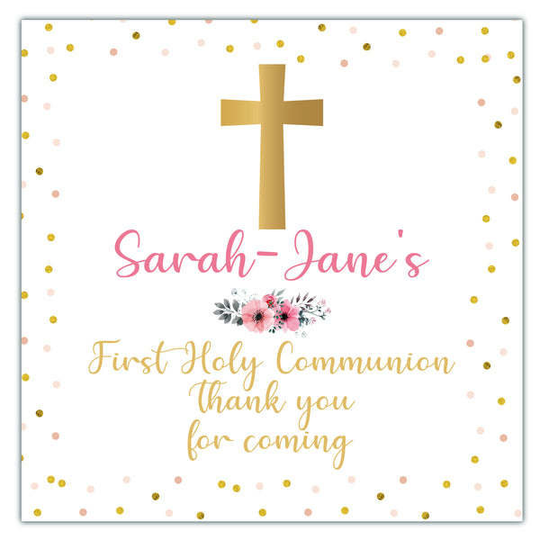 Personalised First Holy Communion Party Favour Sweet Bag Stickers Gold Confetti Cross