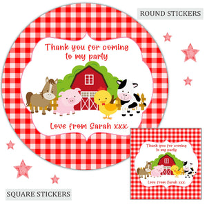 Personalised Birthday Party Favour Sweet Bag Stickers Farm Animals Red