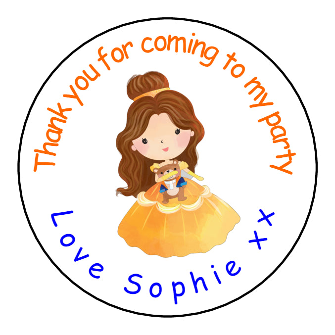 Personalised Round Glossy Birthday Party Favour Sweet Bag Stickers Belle