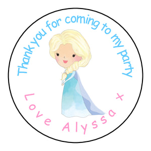 Personalised Glossy Birthday Party Favour Sweet Bag Stickers - Elsa