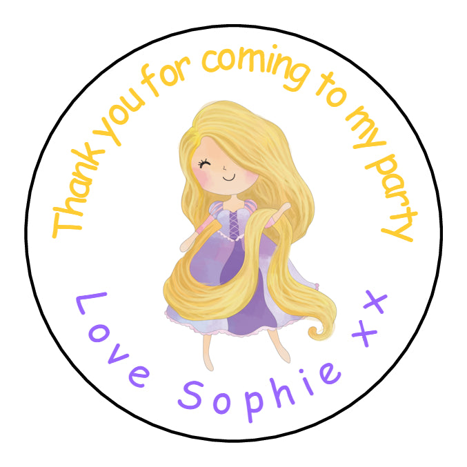 Personalised Round Glossy Birthday Party Favour Sweet Bag Stickers Rapunzel