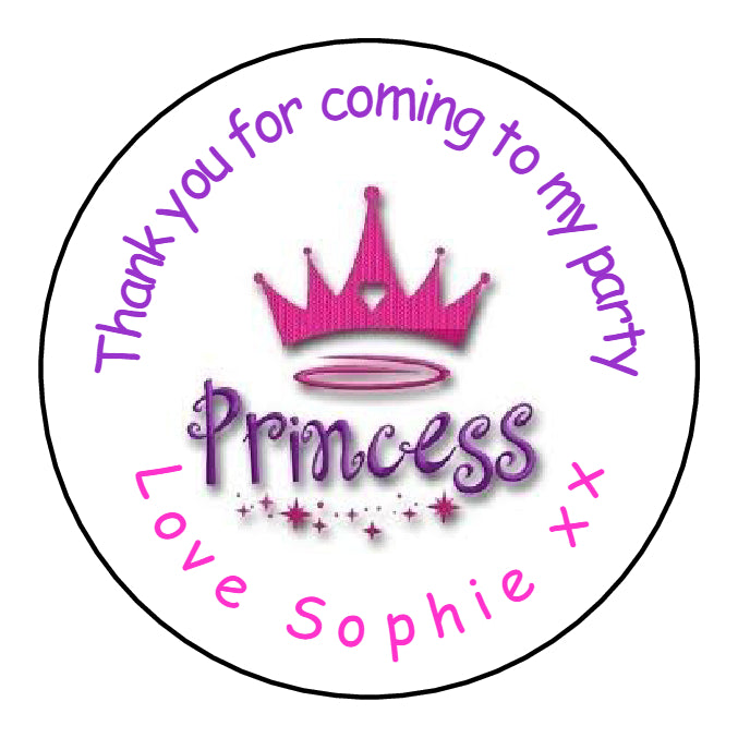 Personalised Round Glossy Birthday Party Favour Sweet Bag Stickers Princess Crown