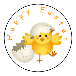Personalised Glossy Happy Easter Stickers - Easter Chick