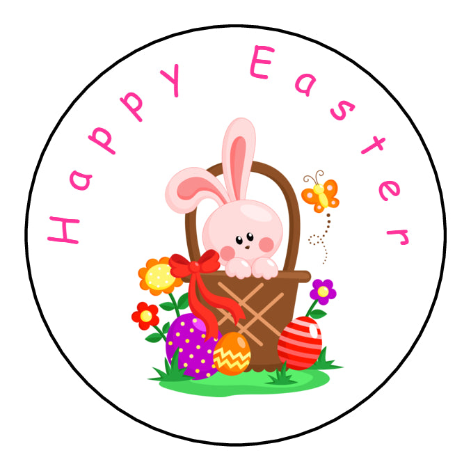 Personalised Round Glossy Easter Stickers Easter Bunny Basket