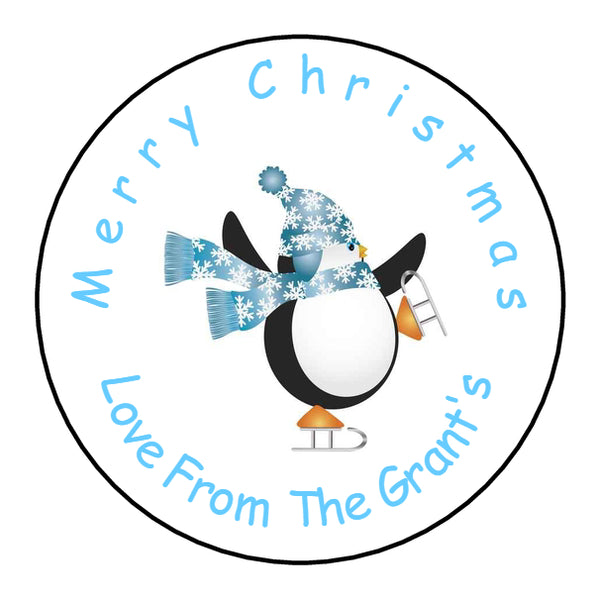 Personalised Round Glossy Christmas Present Gift Label Tag Stickers Penguin