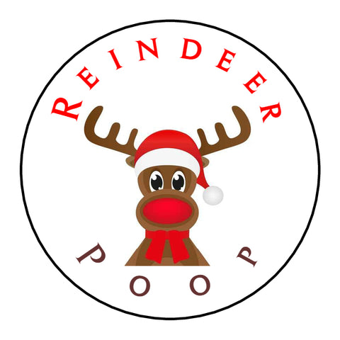 Glossy Round Christmas Labels Stickers Reindeer Poop