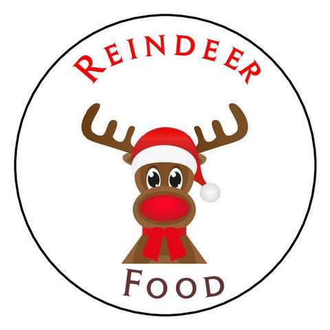 Glossy Round Christmas  Label Stickers Reindeer Food