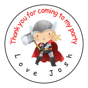 Personalised Glossy Birthday Party Favour Sweet Bag Stickers - Thor