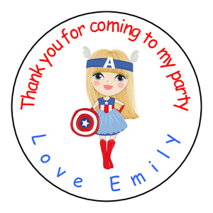 Personalised Round Glossy Birthday Party Favour Sweet Bag Stickers Female Captain America