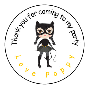 Personalised Round Glossy Birthday Party Favour Sweet Bag Stickers Cat Woman